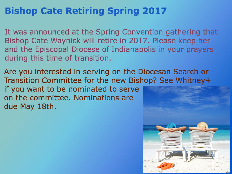 Bishop Cate to Retire